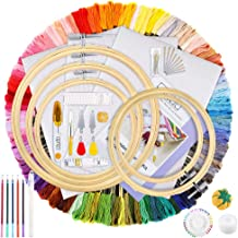 Caydo Full Range of Embroidery Starter Kit with 100 Color Threads, 5 Pieces Bamboo Embroidery Hoops, 3 Pieces Aida Cloth, Cross Stitch Tools Kit for Beginners Sewing