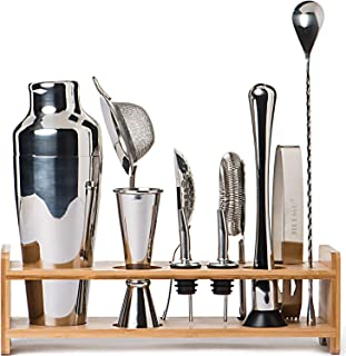 Jillmo Bartender Kit-11 Piece Bar Tool Set with Stylish Bamboo Stand-Professional Cocktail Shaker Set and Bar Tools