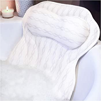Bath Pillow Luxury Bathtub Pillow, Ergonomic Bath Pillows for Tub Neck and Back Support, Bath Tub Pillow Rest 3D Air Mesh Breathable Bath Accessories for Women & Men, Spa Pillow, Powerful Suction Cups