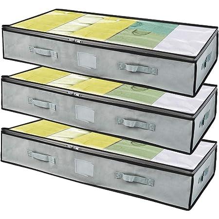 BoxLegend Sac de Rangement sous Lit Lot de 3, Closet Organizer Sac Souple, Pliable, Sac Space Saver à 4 renforcé Poignées,pour Couette Vetements Edredons Couvertures Oreillers Jouets (50x 100 x 18 cm)