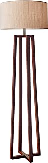 Adesso Quinn 60 Inch Floor Lamp Walnut Wood Finished Pole Lamp