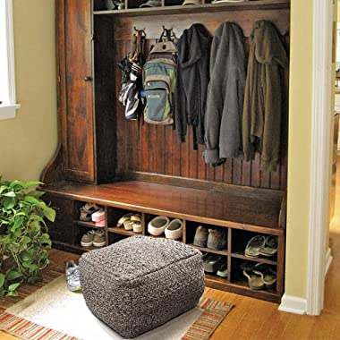 HIGOGOGO Pouf Cover, Unstuffed Ottoman Handmade Woven Foot Stool Soft Knitted Cotton Linen Footrest Square Floor Cushion Unfi