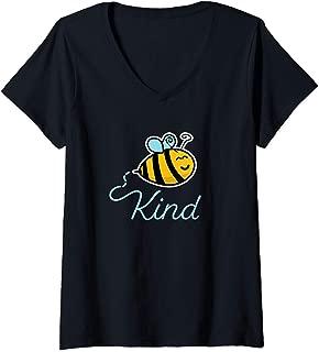 Womens Cute Cartoon Bee Kind Honey Farmer Funny Design Bee Keeper V-Neck T-Shirt