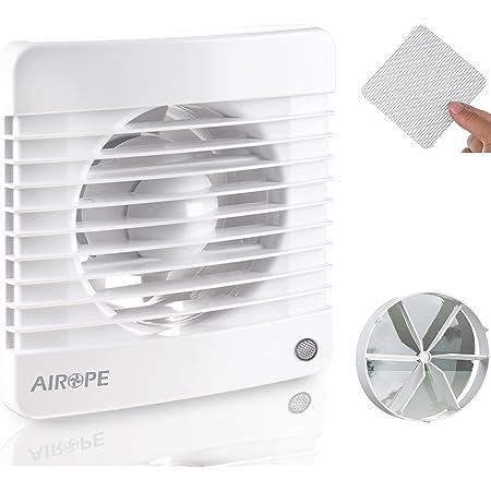Airope,100 mm Ventilateur,Extracteur d'Air avec Clapet Anti-Retour + Moustiquaire Intégré,7 W,dB(A) 26,VMC pour Salle de Bain,Cuisine,Bureau,WC,Silencieux,Garantie 5 ANS
