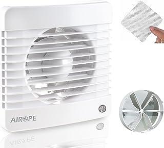 Airope,100 mm Humidity Sensor & Timer,Ventilateur,Extracteur d'Air avec Clapet Anti-Retour + Moustiquaire Intégré,7 W,dB(A...