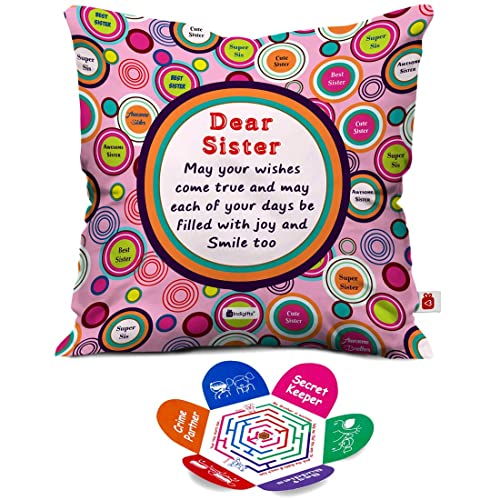 Indigifts Dear Sister Sibling Love Micro Satin Fibre Cushion Covers With Filler 12X12 Inches