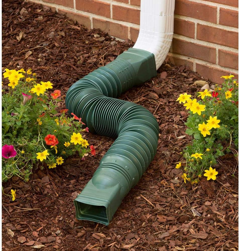 WholesalePlumbing Supply Green Flexible Downspout Extension Gutter Connector Rainwater Drainage 25 to 55 inches