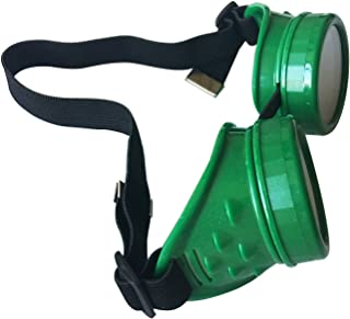 Wocst New Sell Vintage Steampunk Goggles Glasses Welding Cyber Punk Gothic (Green)