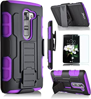 LG K7 Case, LG Tribute 5 Case, LG Escape 3 Case, LG K8 Case, Starshop [Dual Layers] with Kickstand and [Premium Screen Protector] With Locking Belt Clip Black