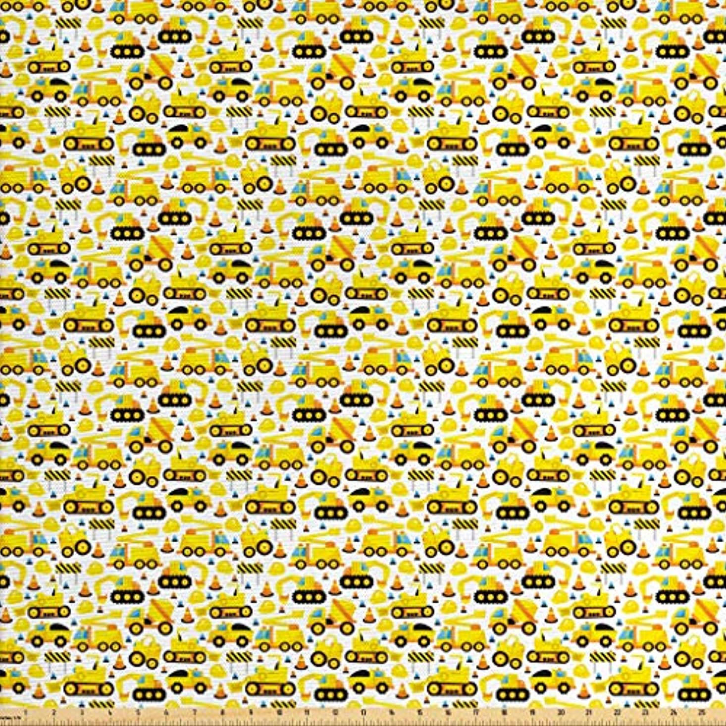 Lunarable Kids Fabric by The Yard, Construction Vehicles Cartoon Style Machines Safety Icons Building Theme, Decorative Fabric for Upholstery and Home Accents, 2 Yards, Yellow Black and White fpzhxdgqxqrank