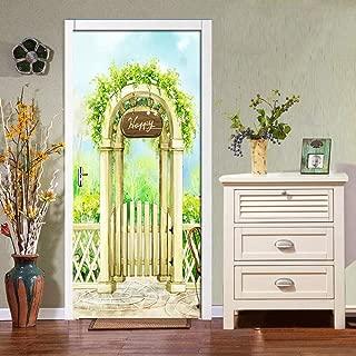 Zyyanaes 3D Door Stickers Wall Mural Watercolor Manor PVC Waterproof Self-Adhesive Wall Wallpaper for Living Room Bedroom Door Decals Mural Wall Sticker,30.3