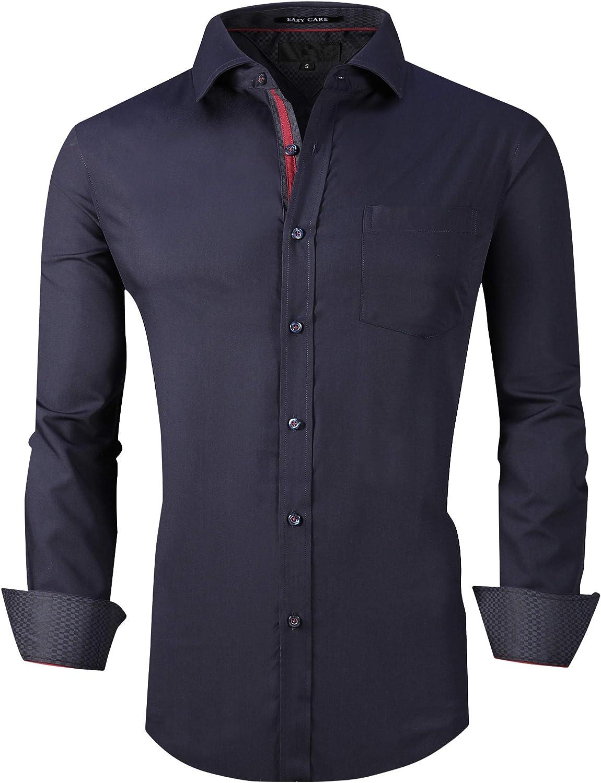 Esabel.C Mens Dress Shirts Long Sleeve Regular Fit Business Casual Button Down Shirts