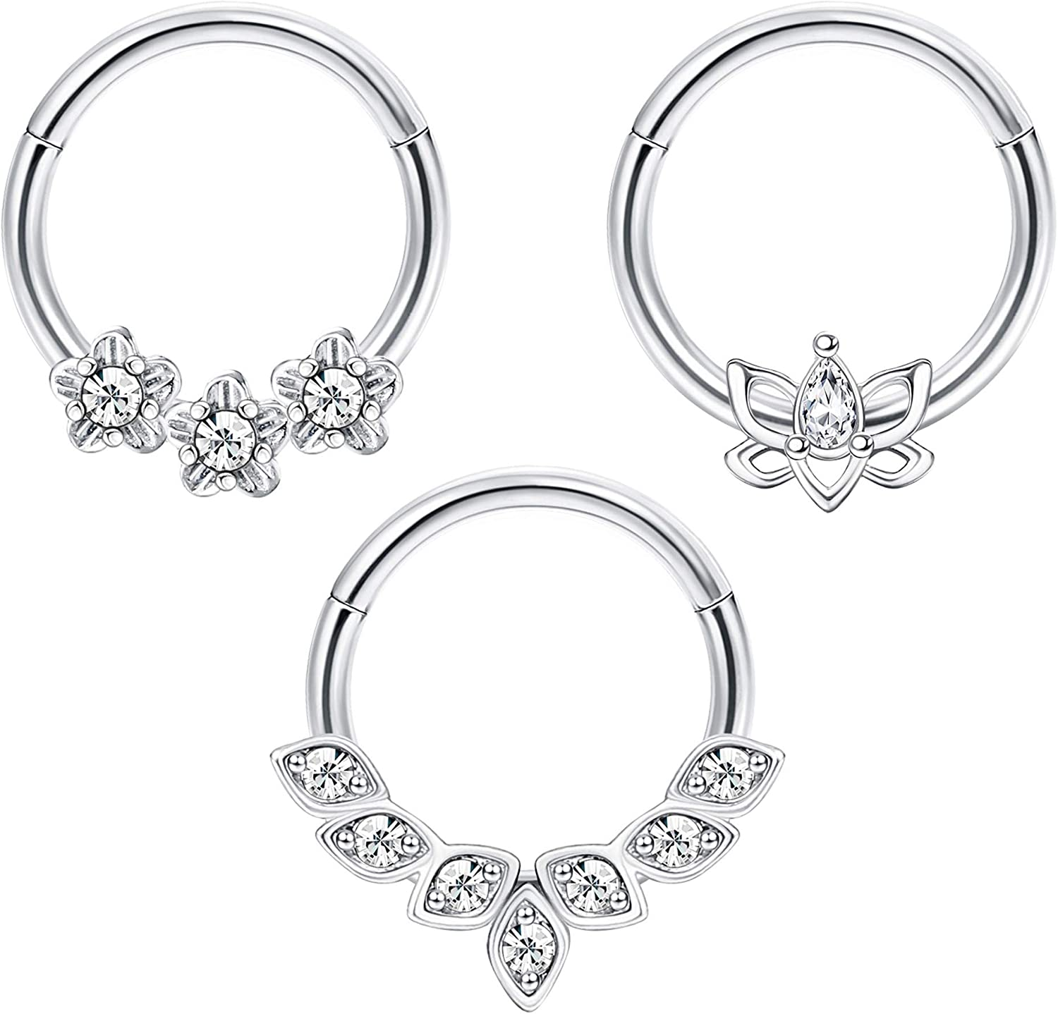 Drperfect Daith Earrings for Women 16G 316L Stainless Steel Nose Cartilage Helix Tragus Rook Earring Hoop Hinged Segment Clicker Septum Ring Piercing Jewelry