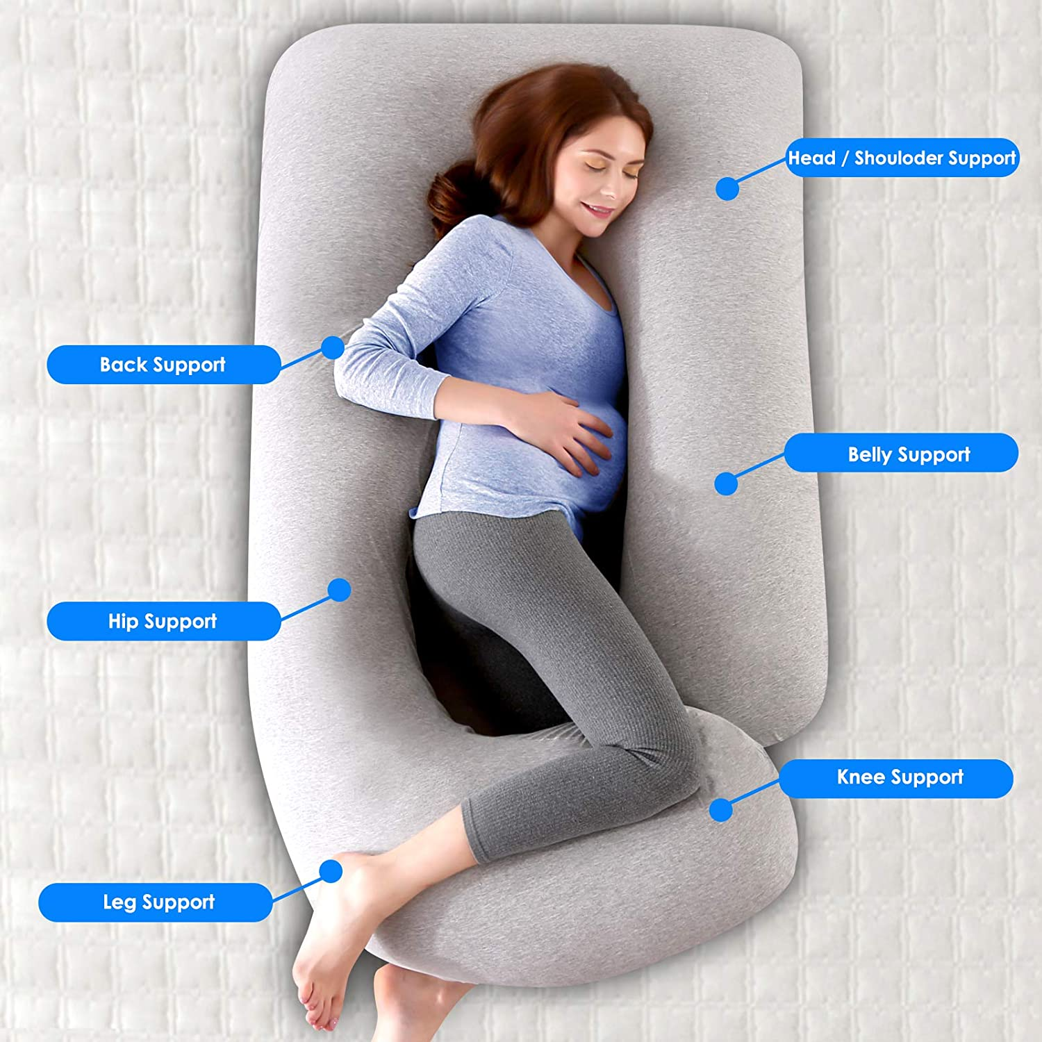 57 inches Pregnancy Support Pillow for Women Nursing Maternity Pillow for Back Hips Legs Belly Pregnancy Pillows U-Shaped Full Body Pillow for Sleeping Maternity Pillow with Washable Jersey Cover