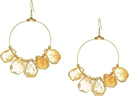 Kenneth Jay Lane - Polished Gold Hoop with Citrine Drops Fish Hook Ear Earrings