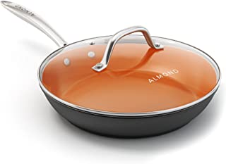 Nonstick Ceramic Copper Frying Pan: Non Stick 10 Inches Skillet With Glass Lid - Saute Pan for Gas Electric and Induction Cooktops