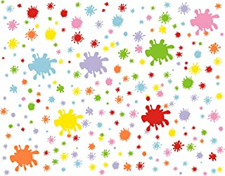 Easma Paint Splatter Decals Splotches Wall Decal Primary Color Wall Stickers Vinyl Vinyl Paint Splatter Wall Stickers-252pcs