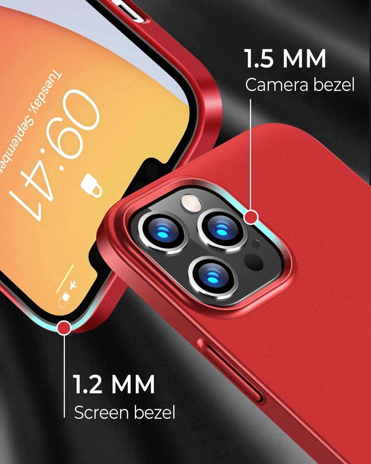RANVOO iPhone 12 Pro Max-Compatible Slim Fit Case - Metal Backing Paint, Anti-Fingerprint, Scratchproof & Smooth Surface - Supports MagSafe & Wireless Charging - Includes 2 Glass Screen Protectors-RED