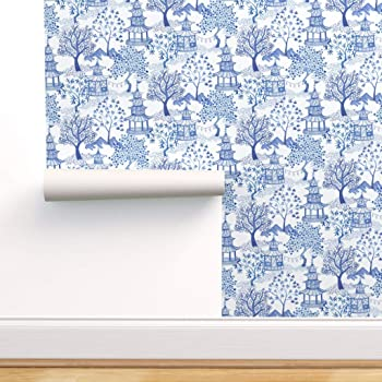 Wallpaper Roll Teal Chinoiserie Spring Floral Bamboo 24in x 27ft