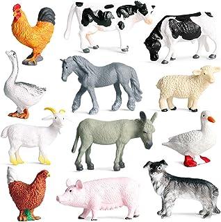 Beauy Girl 12 Pcs Farm Animals Figures, Realistic Simulation Farm Animal Figures Cake Topper, Farm Animal Models Toy Set E...