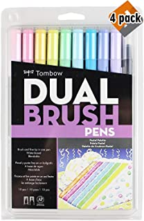 Tombow 56187 Dual Brush Pen Art Markers, Pastel, 10-Pack. Blendable, Brush and Fine Tip Markers - 4 Pack