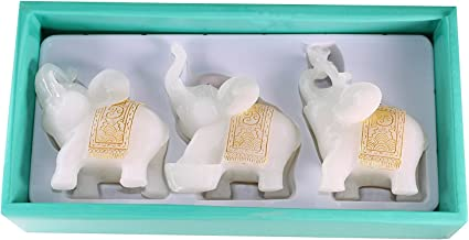 Feng Shui Set of 3 White Jade Elephant Statues Wealth Lucky Figurines Home Decor Housewarming Congratulatory Gift US Seller