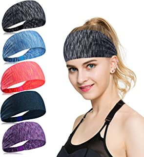 KQueenStar Womens Athletic Headband - Sweatband for Travel Fitness Elastic Wicking Yoga Sport Accessories