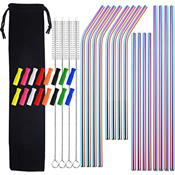 """Metal Straws with Silicone Tip, 8.5"""" 10.5"""" Reusable Stainless Steel Straws with Cleaning Brush for 20 30oz Cups (Rainbow)"""