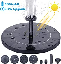 AISITIN Solar Fountain Pump, 3.0W Circle Solar Water Pump Floating Fountain Built-in Battery 1000mAh, with 6 Nozzles, for Bird Bath, Fish Tank, Pond Garden Decoration