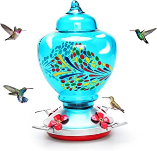 Mingyall Glass Hummingbird Feeder with Perch, Colorful Humming Bird Feeders for Outdoors 0.45 Gallon Nectar Capacity Inclu...