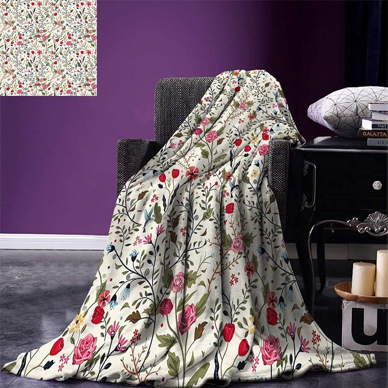 VANKINE Floral Super Soft Lightweight Blanket Vibrant colord Complex Image Birds with pinks Leaves and Polka Dots Nature Scenery Oversized Travel Fashion Blanket Multicolor