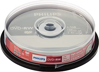 Philips DVD-RW 4.7GB Data/120Min Video, 4x Speed Recording 10per Spindel - Packaging May Vary