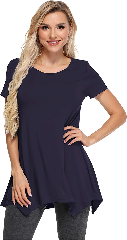 GYS Women's Tunic Tops Casual Summer Tee Short Sleeve T-Shirt Flowy Blouse Shirts Plus Size