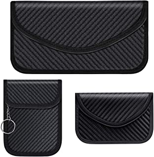 Syscudo Carbon Fiber Faraday Bag RFID Signal Blocking Bag Shielding Pouch Wallet Case for Phones - Device Shielding for Data Security and Refuse to Call (Black, 3 Pack)