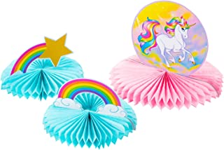 Blue Panda 3-Piece Rainbow Unicorn Honeycomb Centerpiece Decoration for Kids Birthday Party Supplies, Pink and Blue