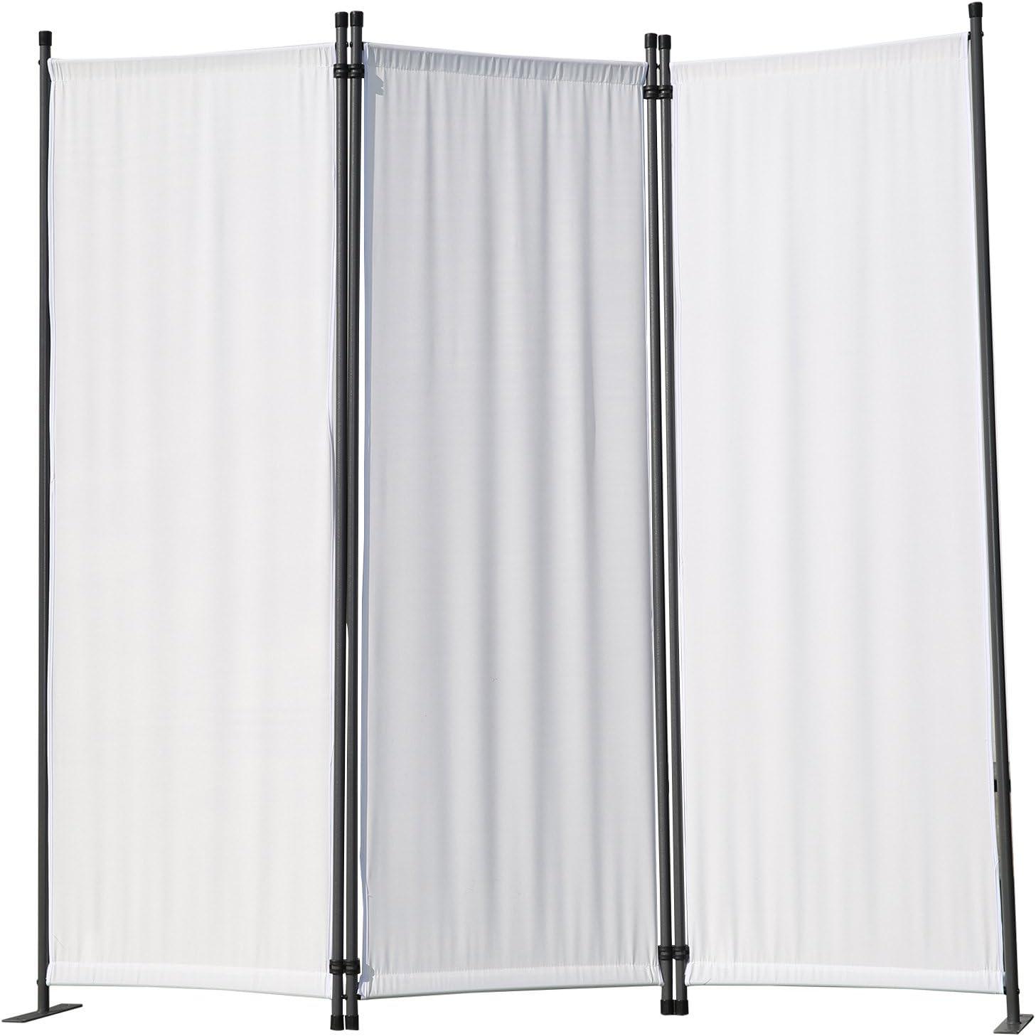 Angel Living Biombo Separador de 3 Paneles, Decoración Elegante, Separador de Ambientes Plegable, Divisor de Habitaciones, 169X165 cm (Blanco)