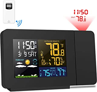 Kalawen Projection Alarm Clock Weather Station with Color Multifunctional Time Date Weekday Temperature Humidity LCD Dispaly