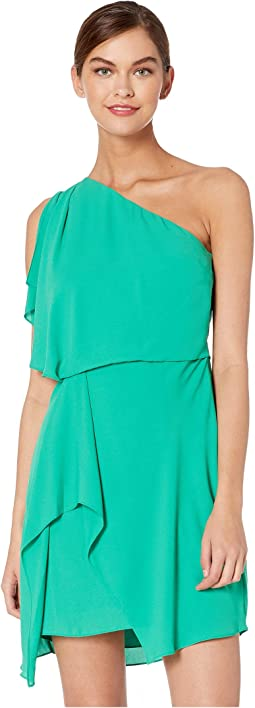 Flowy One Shoulder Dress with Draped Skirt