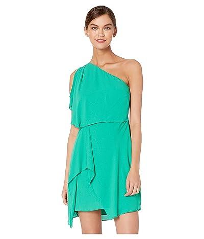 Halston Heritage Flowy One Shoulder Dress with Draped Skirt (Jade) Women