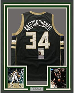 e518dc7ae27 Framed Autographed/Signed Giannis Antetokounmpo 33x42 Milwaukee Green  Custom Basketball Jersey JSA COA
