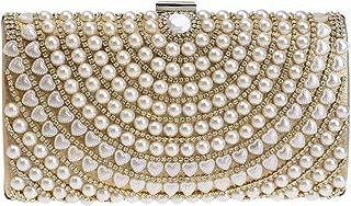 TWTAI Women's Pearl Tassel Fashion Banquet Party Evening Bag Wild Luxury Dress Chain Shoulder Messenger Bag Wedding Bridesmaid Bridal Square Clutches Bags (Color : Gold)