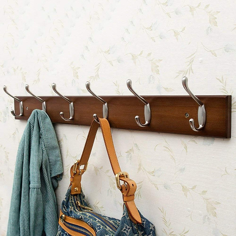 Shiyanghang Bedroom Wall Clothes Hook Vintage color Entrance Door Behind The Wall Coat Rack Solid Wood Hanger Coat Hook Hook (Size   D)