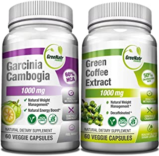 Garcinia Cambogia and Green Coffee Extract, Natural Weight Management and Energy Booster Bundle, 1000 mg per Serving, AM &...