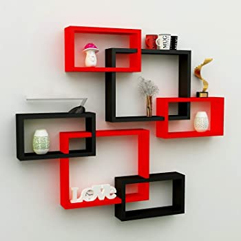 Santosha Décor MDF Wall Decoration Intersecting Floating Shelves Antique Racks And Shelves Shelf For Home Decorative Items For Home And Office Decorations Decoration Living Room Hall Bed Room Guest Room Study Room Wall Mounted Rack Stand Furniture (Black and Red) - Set of 6