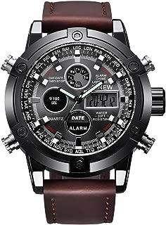 Men's Casual Daily Luxury Dual Movt Men's Leather Quarz Analog Digital LED Sport Wrist Watch (Coffee, Men's Size)