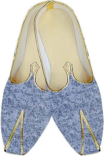INMONARCH Herren Himmel Blau Hochzeit Schuhe Blatt Muster MJ016008
