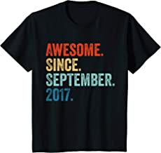 Kids Awesome Since September 2017 2nd Birthday Gift 2 Yrs Old T-Shirt