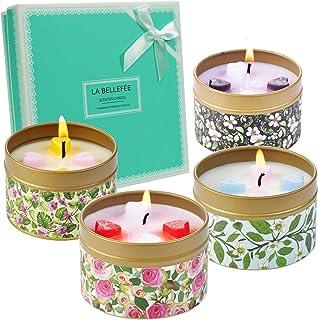 LA BELLEFÉE Bougies Parfumées Bougies Florales de Rose Vanille Lavande Jasmine Bougie Cire de Soja Naturelle Parfum d'Ambi...