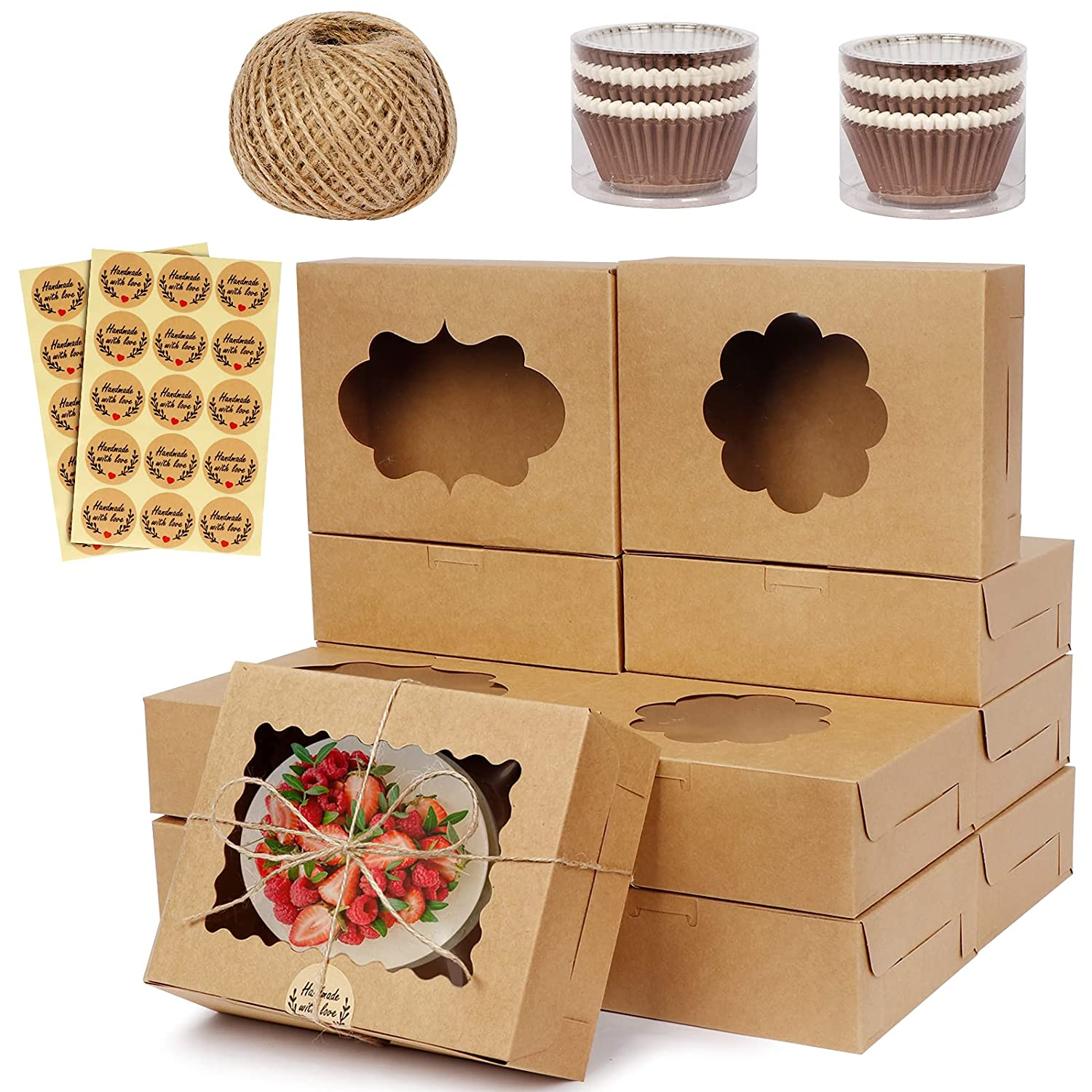 OurWarm 30Pcs Cookie Boxes with Window, 8x6x2.5 Bakery Boxes Pastry Boxes, Kraft Paper Treat Boxes for Strawberries, Cupcakes, Donuts, Includes 200Pcs Cupcake Liners, 30Pcs Stickers and Ribbons