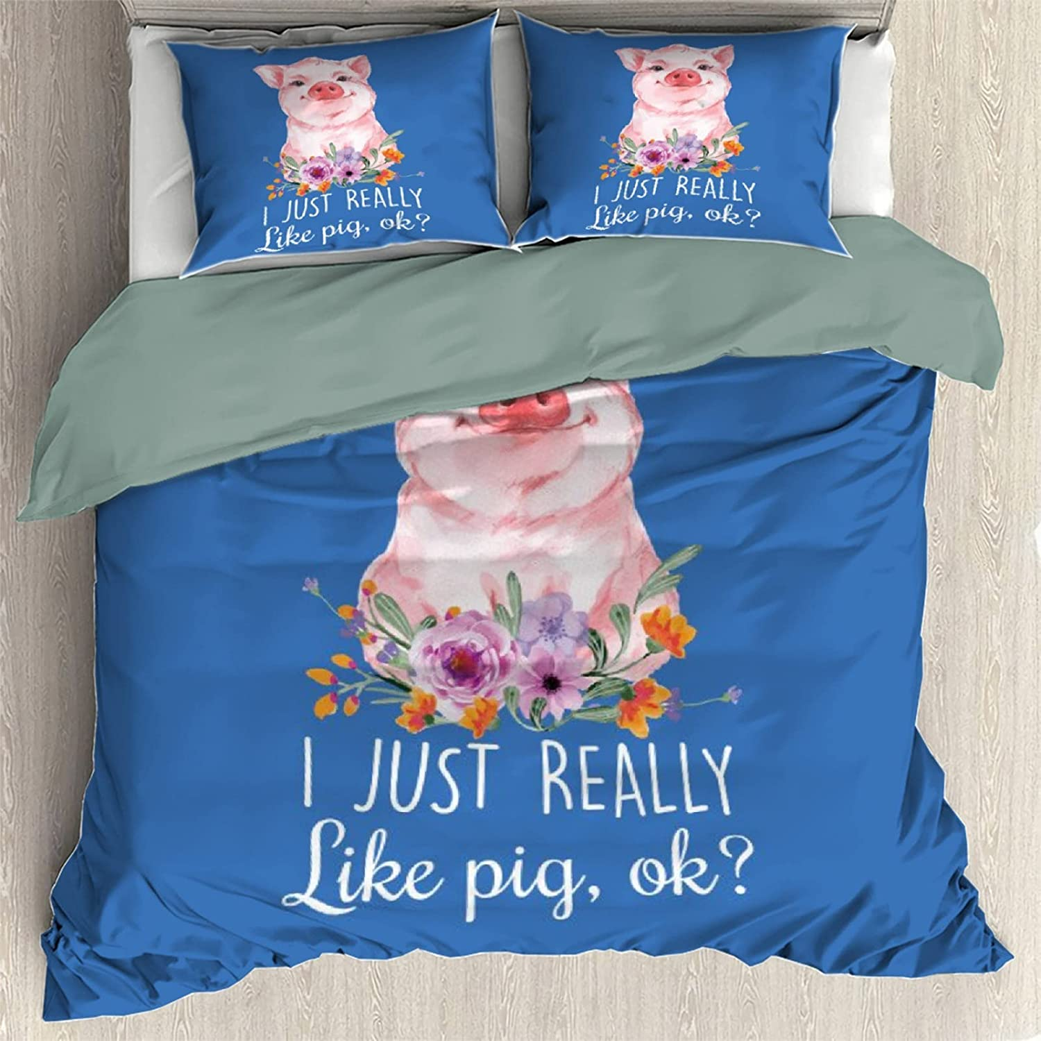 I Just Really Like free shipping Pigs Sale item Ok Bedding P of Cover 3 Set Pieces Quilt